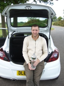 Andre Bolte wit an Vauxhall Corsa in Scotland