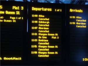 Timetable Scotrail Stirling at the Big Freeze, Scotland
