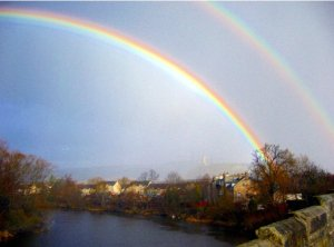 Rainbows in Stirling, Scotland, view from Old Stirling Bridge