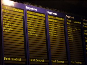 Time table at Queen Street Railway station in Glasgow, Scotland