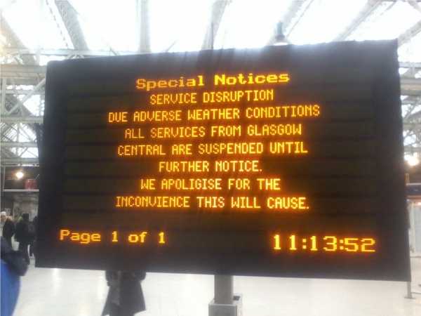 Scotrail time table at bad weater conditions