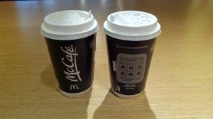 Coffee to go - McCafe Cappuccino and hot chocolate